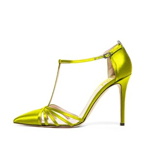 Lime Green Satin T Strap Sandals Pointy Toe Stiletto Heel Sandals