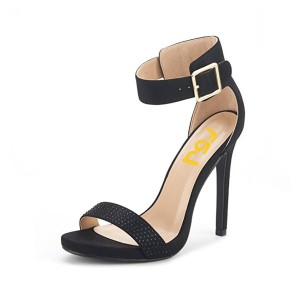 Women's Black Rhinestone Commuting Stiletto Heel Ankle Strap Sandals