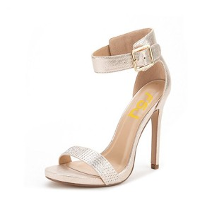 Champagne Ankle Strap Sandals Stiletto Heel Wedding Shoes for Women