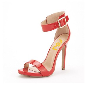 Red Ankle Strap Sandals Patent Leather Open Toe Stiletto Heels