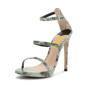 Green Floral Heels 5 Inch Stilettos Open Toe Sandals