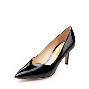 On Sale Black Patent Leather Low-Cut Uppers Stiletto Heels Pumps Shoes