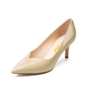 On Sale Beige Office Heels Patent Leather Pointy Toe Mid Heel Pumps