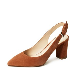 On Sale Tan Heels Suede Chunky Heel Slingback Pumps for Office Lady