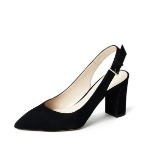 On Sale Black Suede Slingback Shoes Chunky Heels Commuting Pumps