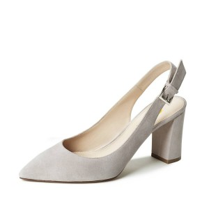 On Sale Light Grey Commuting Suede Chunky Heels Slingback Pumps Shoes