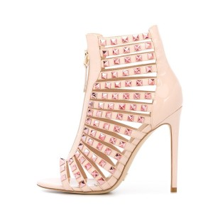 Nude Studs Shoes Open Toe Patent Leather Stiletto Heel Sandals