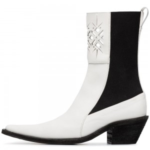 White and Black Hollow Out Block Heel Ankle Booties