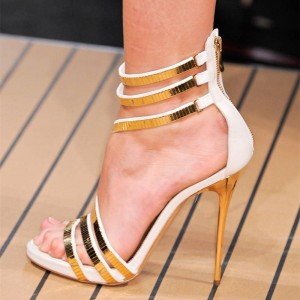 White and Gold Strappy Stiletto Heels Open Toe Sandals For Party