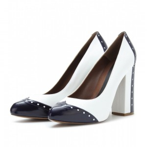 White and Navy Low-cut Uppers Almond Toe Vintage Heels Shoes