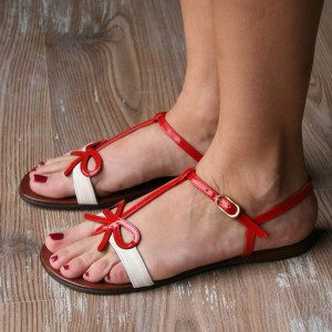 White and Red Bow Sandals Open Toe T Strap Flat Sandals