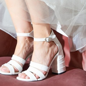White Ankle Strap Chunky Heel Wedding Sandals
