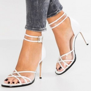 White Ankle Strap Sandals Clear PVC Stiletto Heel Sandals