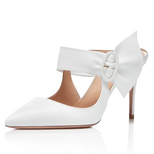 White Mule Heels Buckled Pointy Toe Stilettos Wedding Shoes
