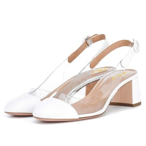 White Slingback Clear Shoes Block Heels Pumps
