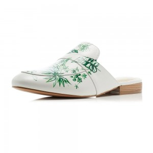 White Floral Flat Loafer Mules