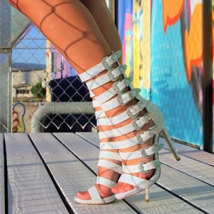 White Gladiator Heels Glitter Multi Buckles Stiletto Heel Sandals