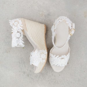 White Lace Wedding Wedges Open Toe Bridal Platform Sandals