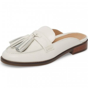 Ivory Loafer Mules Comfy Round Toe Flat Tassel Loafers for Women