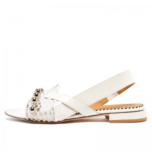 White Nets Beads Slingback Flat Sandals