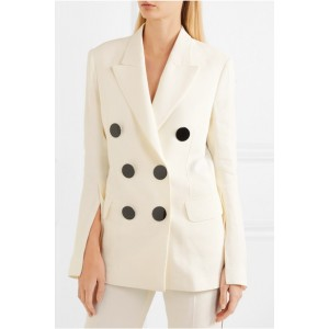 White Office Clothes Double-breasted Crepe Blazer for Women