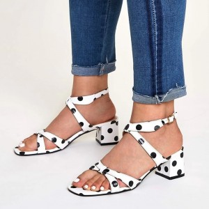White Polka Dots Block Heel Sandals