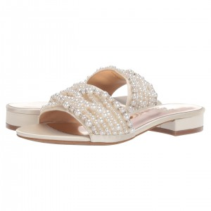 Champagne Satin Pearl Women's Slide Sandals