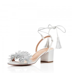 White Strappy Tassel Fringe Block Heel Sandals
