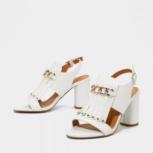 White Studs Chains Chunky Heel Slingback Shoes Sandals