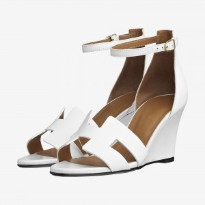 White Wedges Sandals Open Toe Ankle Strap Sandals