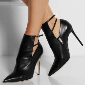 Black Fall Boots Pointy Toe Double Ankle Strap Stiletto Heel Booties