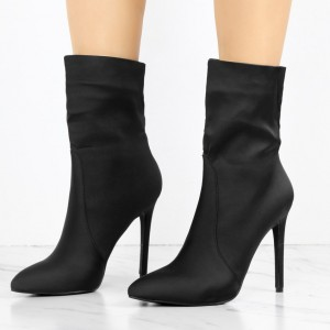 Women's Black 4 Inch Stiletto Heels Fashion Ladies Ankle Boots