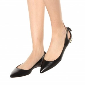 Women's Black Comfortable Flats Pointy Toe Hollow Out Leather Shoes