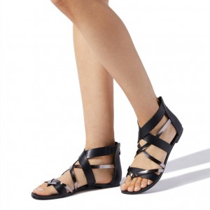 Women's Black Gladiator Sandals Open Toe Flats Summer Sandals