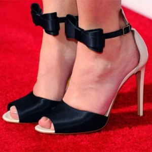 Black Satin Bow Sandals Peep Toe Stiletto Heels Evening Shoes