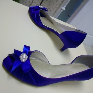 Royal Blue Satin Bow Low Heel Wedding Shoes Rhinestone D'orsay Pumps