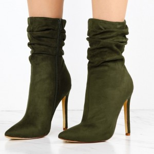 Olive Suede Slouch Boots Pointy Toe Stiletto Heel Ankle Booties