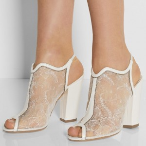 Women's Bridal Shoes White Lace Floral Peep Toe Chunky Heels