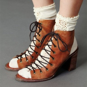 Women's Brown Vintage Shoes Chunky Heels Peep Toe Lace Up Ankle Boots
