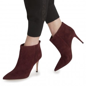 Women's Burgundy Suede Stiletto Boots Pointy Toe Ankle Boots by FSJ