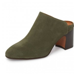 Women's Dark Green Round Toe Suede Block Heels Mule