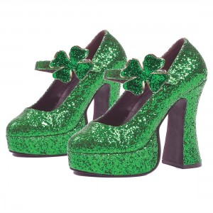 Women's Green Glitter Platform Heels Fashion Flower Buckle Pumps