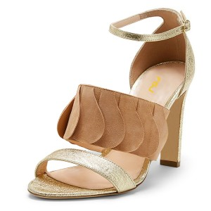 Women's Gold Open Suede Fringe Ruffle Ankle Strap Sandals