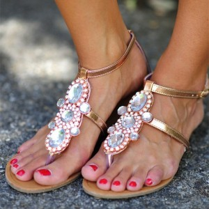 Golden Rhinestone Flats Sparkly Sandals T Strap Jeweled Sandals