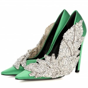 Green and Silver Sequined Prom Shoes Satin Stiletto Heels Pumps