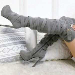 Grey Tall Boots Strappy Suede Platform Over-the-Knee Long Boots