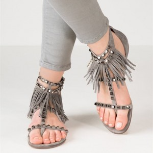 Grey T Strap Fringe Studded Sandals Open Toe Suede Flat Sandals