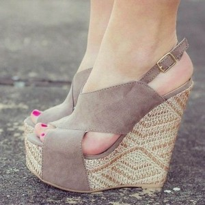 Grey Taupe Wedge Sandals Suede Slingback Shoes with Platform