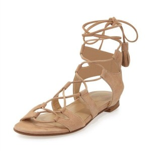 Khaki Lace up Sandals Comfortable Flats Tassles Gladiator Sandals
