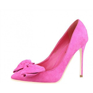 Fuchsia Bow Heels Pointy Toe Suede Stiletto Heel Pumps